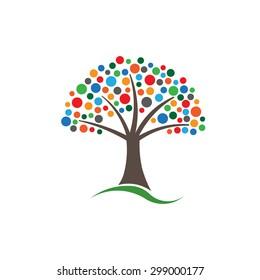Multicolored circles tree image.