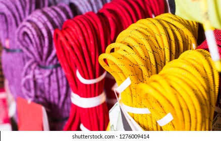 Multicolored climbing ropes for climbing