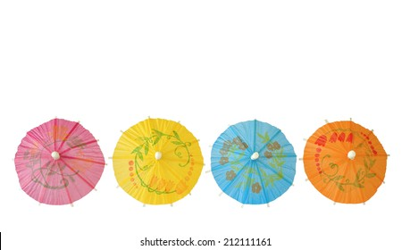 Multicolored Cocktail Umbrellas,isolated on white background
