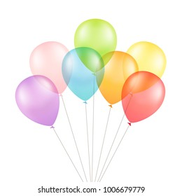 Multicolored Colorful Balloons 3D Illustration Isolated on White Background