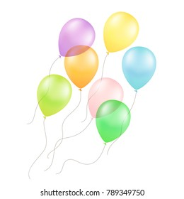 Multicolored Colorful Balloons Isolated on White Background 3D Illustration