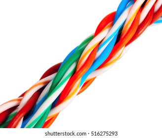 Multicolored computer cable isolated on white, cable internet on white background
