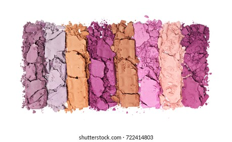 Multicolored crushed eyeshadow for make up as sample of cosmetic product isolated on white background
