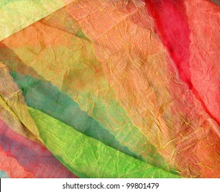 Multicolored curtains transparent and in multiple layers