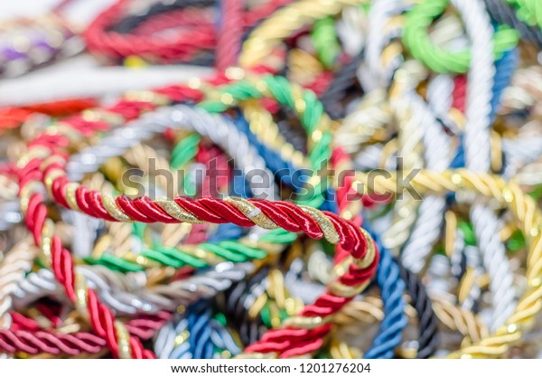 Multicolored Decorative Rope Scattered Mess Textile Stock