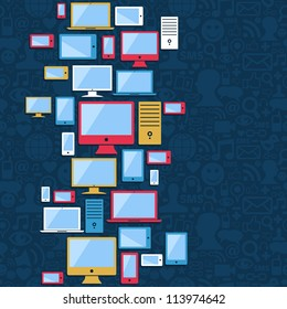 Multicolored devices icons seamless pattern over social media blue background.