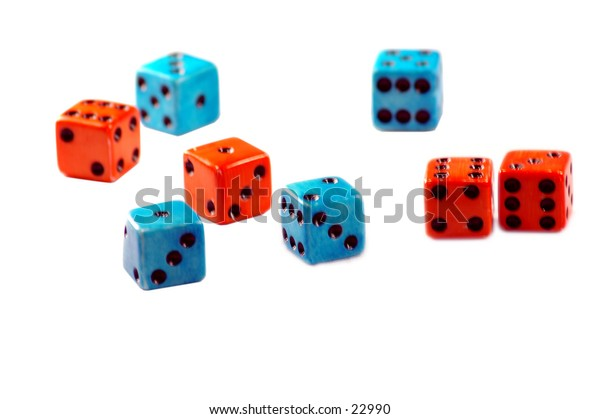 Multicolored dice,shallow depth of field