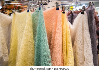 Multicolored down shawls. Sale. Goat down shawls, handmade.