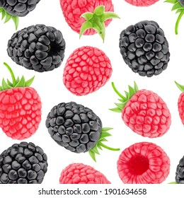 Multicolored endless pattern made with raspberry and blackberry isolated on white background.