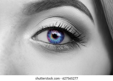 Multi-colored eye macro, black and white photo