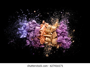 Multicolored eye shadow background scattered powder