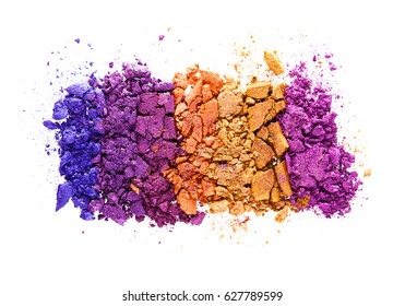Multicolored eye shadow isolated white background