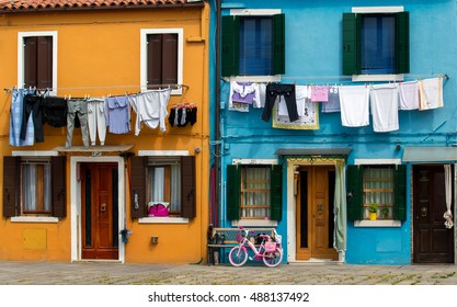 Multicolored facades of houses on the island of Burano, Italy