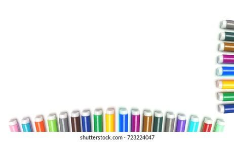 Multicolored Felt Tip Pens on White Background.