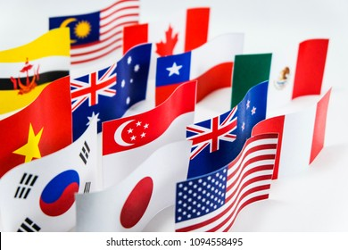 Multicolored of flag for Trans Pacific Partnership (TPP) which it is trade agreement among 11 countries and the purpose for reduce tariffs and increase commercial in Asia pacific trading.