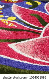Multicolored floral carpet made with flower petals