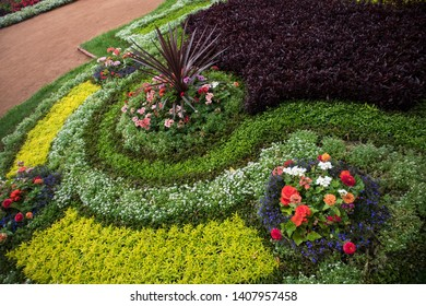 Multicolored flowerbed in the form of geometric shapes