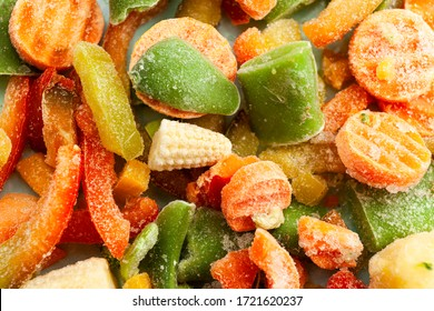 Multi-colored frozen vegetables, summer vitamin set. Healthy food in winter.