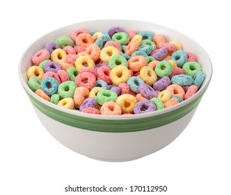 Multicolored Fruit Cereal isolated on white with a clipping mask.