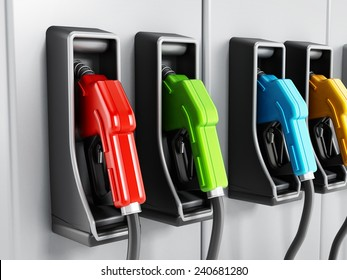 Multi-colored fuel pumps at petrol station