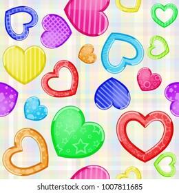 Multicolored funny hearts pattern