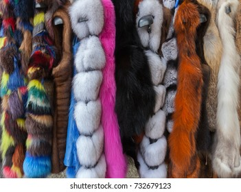 Multicolored Fur Coats on Display, Dyed Faux Fur Coats for Women