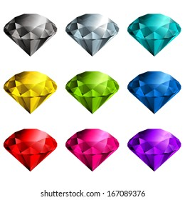 Multicolored gemstones collection - raster version