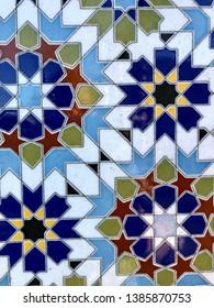 Multicolored geometric ceramic tiles background