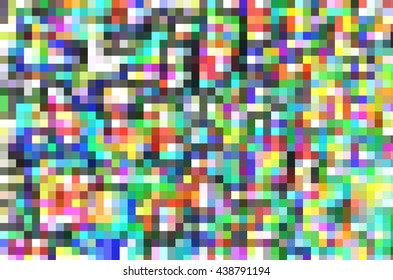 Multicolored geometric mosaic of many small squares in rows and columns for decoration and background with motifs of order, variety, multiplicity