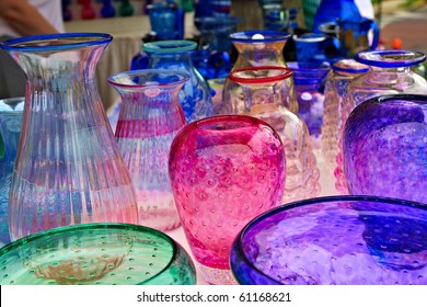 Multicolored glassware vases on sale