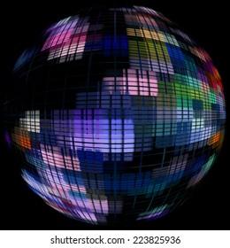 Multicolored globe silhouette in darkness.Digitally generated image.