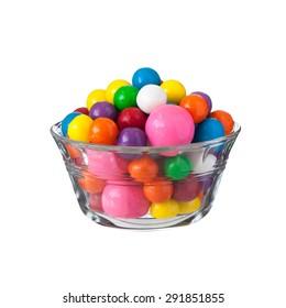 Multicolored gumballs bubble gums, close up