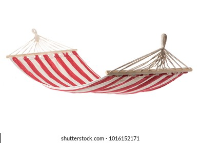 a multi-colored hammock made from natural fabric hanging on ropes, white background isolate
