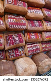 Multi-colored hand made leather  bags made in the  tanneries of Fes, Morocco, Africa