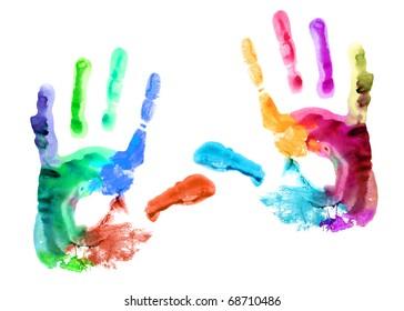 Multicolored hand print.