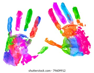 Multicolored hand print on white background
