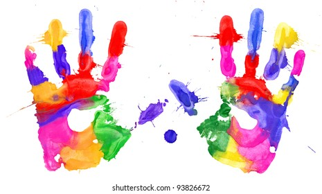 Multicolored hands print on white background
