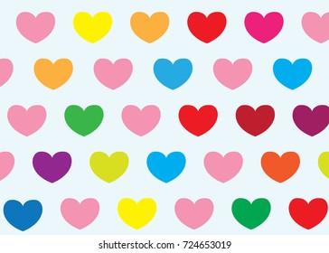 Multicolored heart pattern