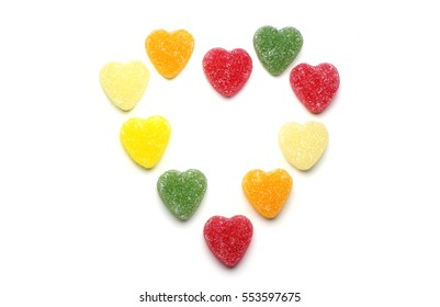 Multicolored hearts candy forming big heart. Concept for Valentines day.