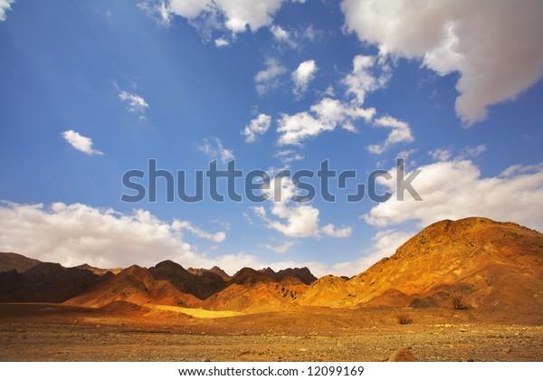 Multi-colored hills from sandstone in Sinai desert