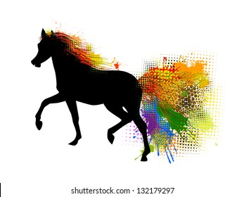 The multi-colored horse. Raster