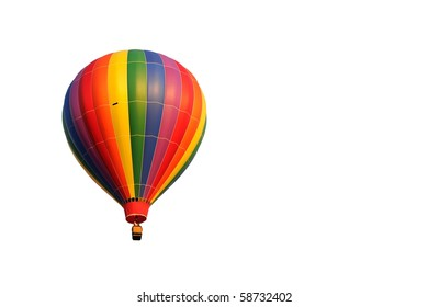 A multicolored hot air balloon isolated on white