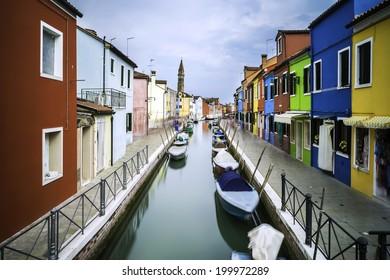 Multicolored houses in Burano, Venice