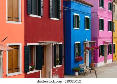 multicolored houses facades of Burano island, Venice, Italy