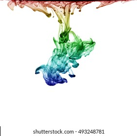 Multicolored jetstream ink in water on a white background