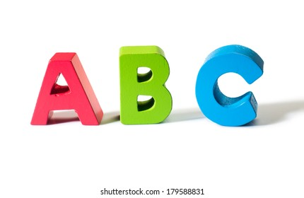 Multicolored letters A B C made of wood.