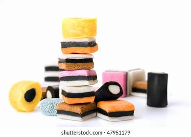 Multicolored licorice candy