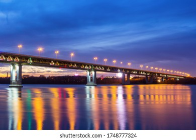 Multi-colored lighting of the metro bridge in Nizhny Novgorod, Russia