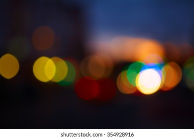 Multi-colored lights on the streets of the city at night. Bokeh