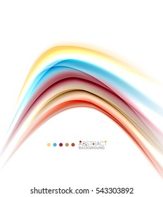 Multicolored lines on white, motion concept abstract background.